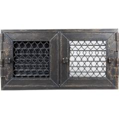 Вентиляционная решетка KRATKI Retro двойная графитовая античная 17х35