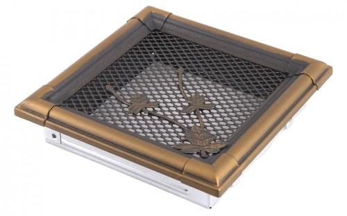 Вентиляционная решетка RETRO золотая патина 16х16